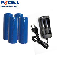 4 x 3.2v IFR18500 1200mAH LiFePO4 Rechargeable Batteries Cell + Smart Charger