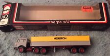 Vintage Herpa 1:87 HO Scale Grey Mercedes Tractor Unit-Trailer Hoesch, Boxed