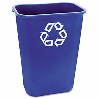 New Rubbermaid Recycling Container Recycle Trash Can Blue 41 Quart Wastebasket