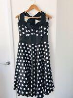 HELL BUNNY Size L Black Polka Dot Retro Rockabilly Halter Neck Swing Dress