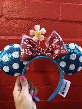 NEW Disney Parks Vintage teal retro Minnie Mouse Bow Sequins Ear Headband