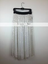 Elegant White and Gold Sparkle LuLaRoe Long Lucy Skirt Size Small (size 4) NWT