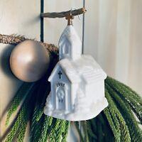 Vintage 1998 AGC, Inc. ceramic Christmas Ornament White Church