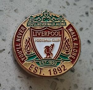 Liverpool FC Official Gold Round Pin Badge with Club Crest - Est. 1892 - Larg
