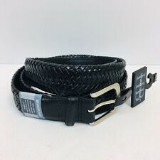 Harbor Bay Men's Big & Tall Extender Leather Dress Belt 42-44 Black Braid Woven