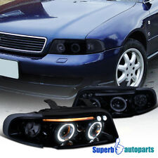 For 1996-1999 Audi A4 Dual Halo LED Projector Headlights Head Lamps Glossy Black
