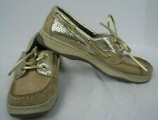 """Sperrys Top Sider """"Bluefish"""" youth girls boat shoes. Lace up. Tan. Size 3"""