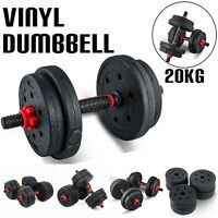 20KG VINYL DUMBBELL SET Home & Gym Fitness Free Exercise Bicep Weight Training
