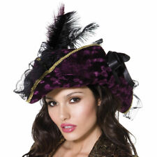 Ladies Purple Pirate Hat with Feathers