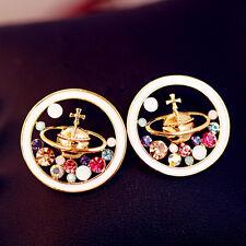 1Pair Women Rhinestone Enamel Universe Planet Saturn Ear Stud Earrings Jewelry
