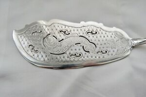 """American Coin Silver Fish Slice Server 1800's Decorated  Bright Engraved 11-3/4"""""""