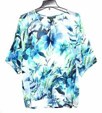 Tommy Bahama - XS - NWT$148 - Blue Tropical Floral Print 100% Silk Batwing Tunic