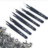 6Pcs/Set Precision ESD Anti-Static Repair Stainless Steel Tweezers Set Kit Tools