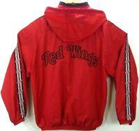 Vtg 90's Detroit Red Wings Pro Player Light Bomber Jacket Men's XL NHL Hooded