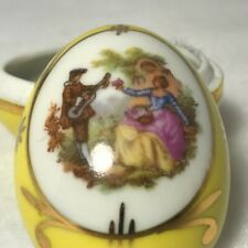 Vintage Limoges Porcelain Trinket Egg Shape Box-Yellow & Gold & Loving Couple