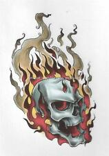 SKULL WITH COLORED FLAMES Temporary Tattoo CLEARANCE