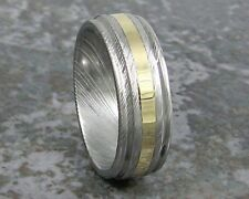 Damascus Steel & Yellow 14k Gold Men's Wedding Band Titanium Made to ANY Sizing