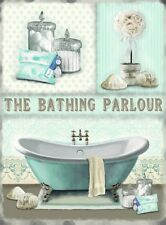 New 15x20cm THE BATHING PARLOUR bathroom small metal advertising sign