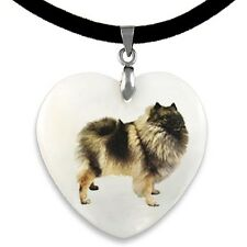 Keeshond Dog Mother Of Pearl Natural Shell Heart Pendant Necklace PP241