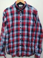 Allsaints Large Shirt Red Blue Plaid Twill
