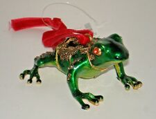 Green Frog Cloisonne Christmas Ornament New in Gift Box with Tags $35