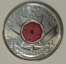 2004 Canada Color 25 Cents Poppy BU