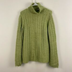 Columbia Womens XL Sweater Top Pullover Top Mock Funnel Neck Green Fluffy X84
