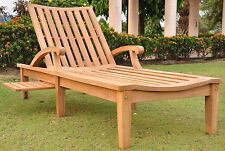 ND Grade-A Teak Outdoor Garden Patio Steamer Chaise Sun Lounger Furniture New