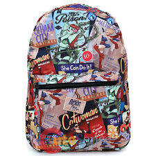 "DC Comics Women Large School Backpack 17"" All Over Prints Bag Bat Grils Wonder"