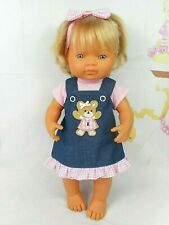 Dolls clothes for 38cm MINILAND DOLL~TEDDY BEAR PINAFORE~PINK TOP~HAIR BOW