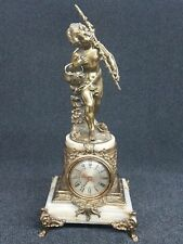 """Antique Bronze w/Marble Figural Clock - Nice Detail - 19"""" Tall"""