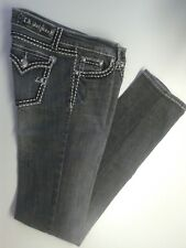 "LA Idol Black Stretch Jeans Pants Straight Leg Sz 5 Inseam 33 1/2"""