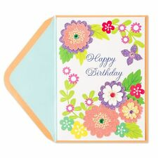 Papyrus Happy birthday Greeting Card Glittered Spring Flowers (Gorgeous)