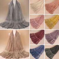 New Women Lace Cotton Scarf Muslim Hijab Maxi Shawl Wrap Scarves Stole Headwrap