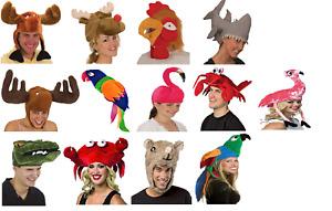 Animal Hats (Choose Your Hat) Plush Squid Moose Reindeer Parrot Alligator