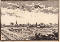 Gravure XVIIe Vue de Gravelines Nord Christophe Tassin Grevelingen 1634