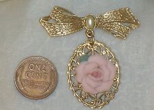 Vintage Pink Porcelain ROSE Filigree BOW PIN 1928 Jewelry Company Necklace Drop