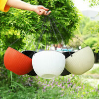 Hanging Basket Home Garden Rattan Flower Pot Resin Planter With Chain-Decor US