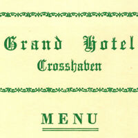 Vintage 1940s Grand Hotel Crosshaven Dinner Menu County Cork Ireland