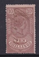 V300) Victoria 1884 Stamp Statute 10/- Brown on pink, very faint fiscal cancel