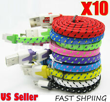 10X LOT Flat BRAIDED Data Cable Charging Cord compatible with iPhone 5 6 7 Plus
