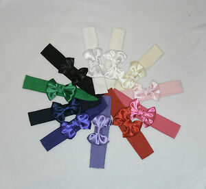 Cotton Lycra Hair Band with Satin Bow 3 years -Adult Girl Headband Colour Choice