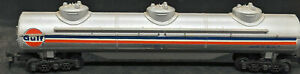 TYCO: GULF OSKX #829. 3-DOME TANK CAR. STRIPED. Vintage. HO Scale. 12-wheel