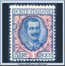 1901 Italia Regno Floreale Lire 5 azzurro e rosa n. 78 Nuovo Integro ** []