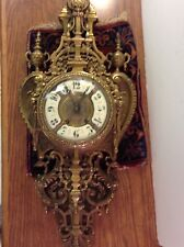 """ANTIQUE French GOTHIC BRONZE CARTEL Cathedral LARGE 32"""" wall clock HEAVY!"""
