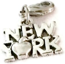 SILVER  NEW YORK WITH APPLE CLIP ON CHARM FOR BRACELET - TIBET SILVER-FREE P&P