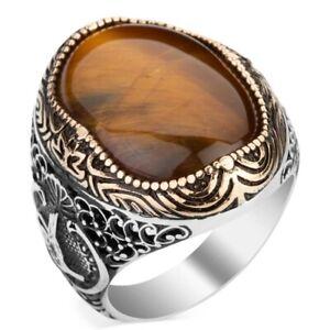Solid 925 Sterling Silver Tughra Design Oval Tiger's Eye Stone Men's Ring