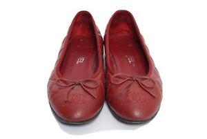 Chanel Women's Flats Ballerina Round Toe  burgundy Leather Size 39