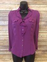 White House Black Market Silk Shirt Size 2 Womens Purple Ruffle Button Down top