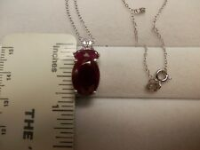 India Ruby Sterling Silver Pendant w/chain